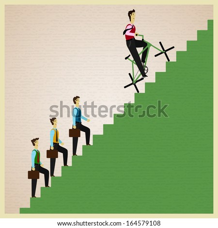 man on a bicycle overtakes people walking foot on a ladder - stock vector