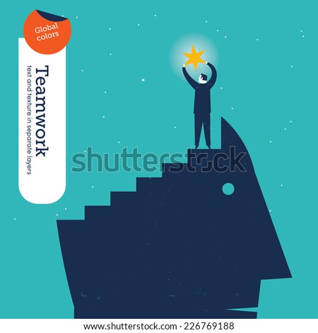 Man on a head catching a star. Vector illustration Eps10 file. Global colors. Text and Texture in separate layers. - stock vector