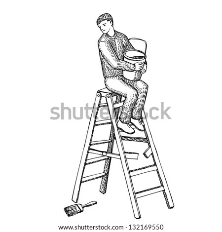 Man on a ladder with a bucket of paint - stock vector