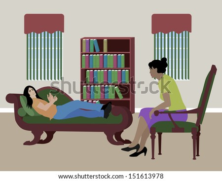 Man on Couch Getting Therapy  - stock vector