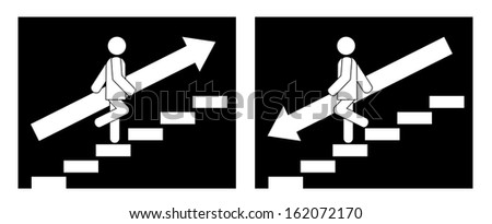 Man on Stairs going up and down symbol - stock vector