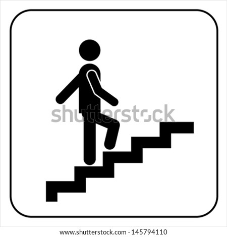 Man on Stairs going up symbol isolated on white, vector - stock vector