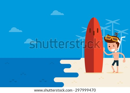 Man on the beach with copy space. - stock vector