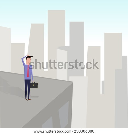 Man on the edge of a building. - stock vector