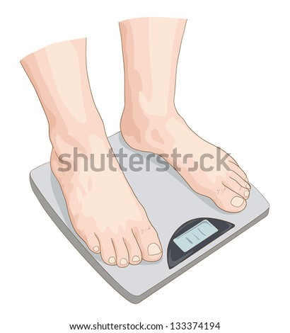 Man on the scale. Vector illustration. - stock vector