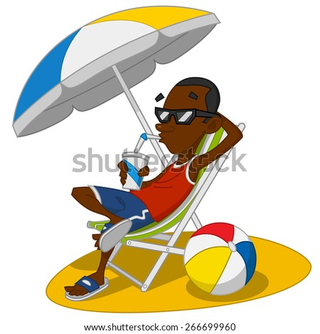 man on vacation. Vector illustration. - stock vector
