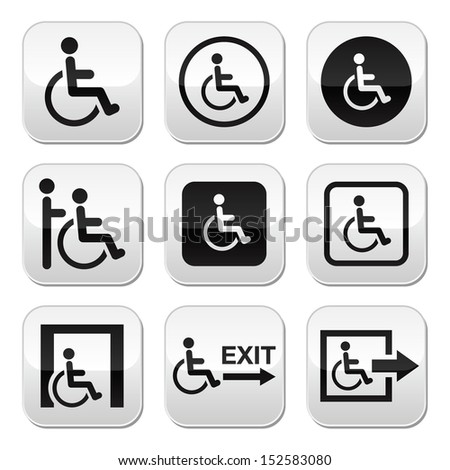 Man on wheelchair, disabled, emergency exit buttons set - stock vector