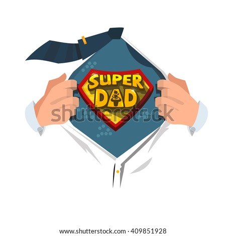 """Man open shirt to show """"Super Dad typographic """" in comic style. super father concept. typographic design - vector illustration - stock vector"""