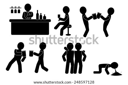 Man or woman drinking in a pub or bar  - stock vector