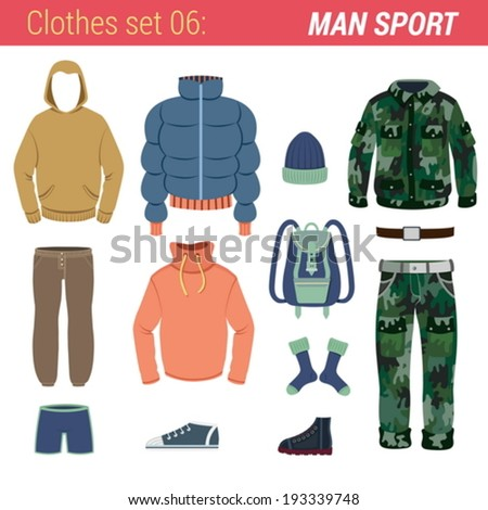Man outdoor sport clothing vector icon set. Sweater, pants, socks, gloves, hat, jacket, trousers, backpack. Clothes collection.