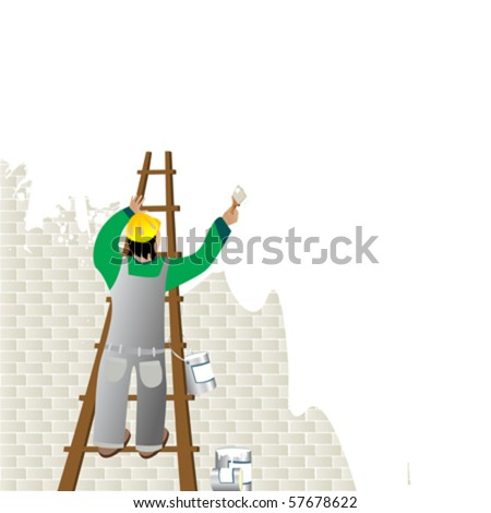 Man painting a wall from a ladder - stock vector