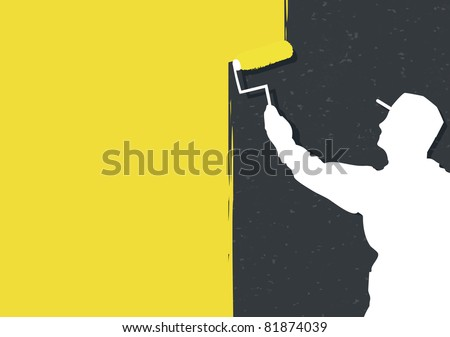 Man Painting Logo Man Painting Wall Vector