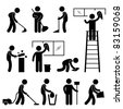Man People Cleaning Washing Wiping Sweeping Vacuum Cleaner Worker Pictogram Icon Symbol Sign - stock vector