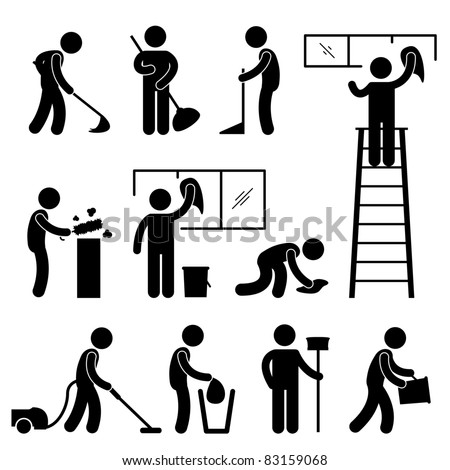 Man People Cleaning Washing Wiping Sweeping Vacuum Cleaner Worker Pictogram Icon Symbol Sign
