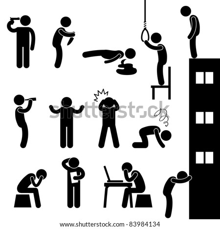 Man People Life Suicide Suicidal Kill Desperate Death Stress Sad Icon Pictogram Sign Symbol - stock vector