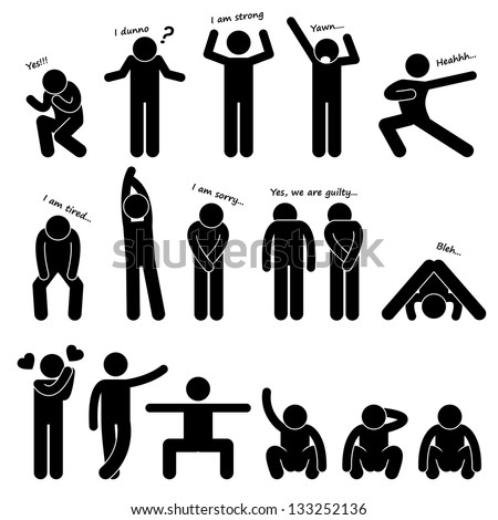 Man People Person Basic Body Language Stock Vector Royalty Free