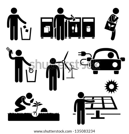 Man People Recycle Green Environment Energy Saving Stick Figure Pictogram Icon - stock vector