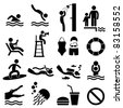 Man People Swimming Pool Sea Beach Sign Symbol Pictogram Icon - stock vector