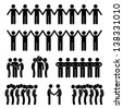 Man People United Unity Community Holding Hand Stick Figure Pictogram Icon - stock photo
