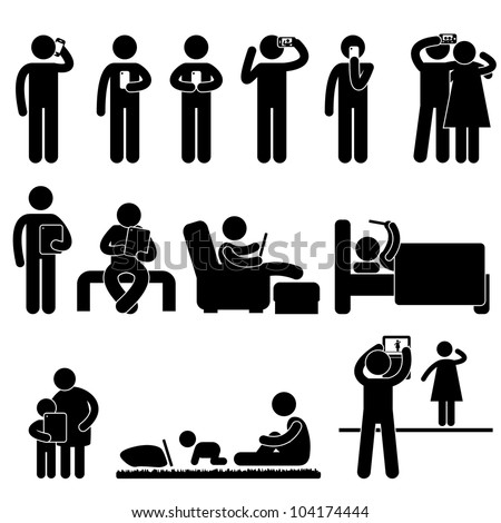 Man People Woman Children using Smartphone and Tablet Icon Symbol Sign Pictogram - stock vector