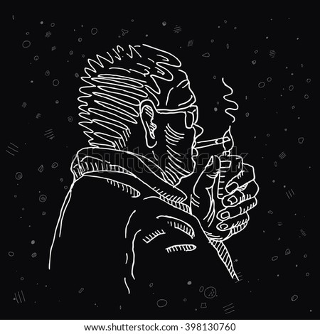 Man person portrait with nicotine cigarette, sunglasses and lighter in hand, line sketch drawing. For nicotine addiction danger design  - stock vector