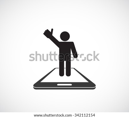 man person thumb up on smartphone icon - stock vector