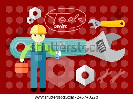 Man, person with toolbox and wrench in hands. Engineer character. Flat icon modern design style concept  - stock vector