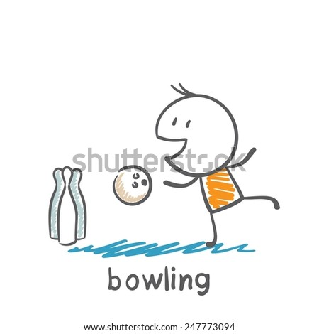 man playing bowling illustration - stock vector