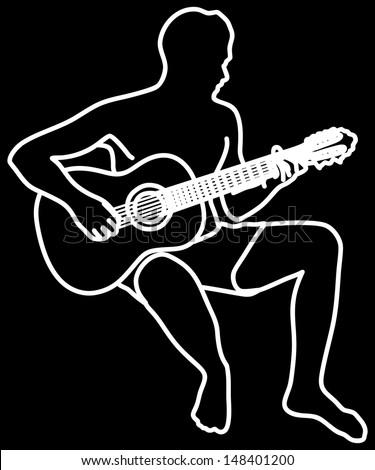Man playing guitar illustration - stock vector