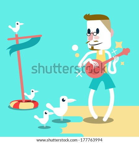 Man playing guitar on the beach with seagulls. Summer holiday. Vector - stock vector