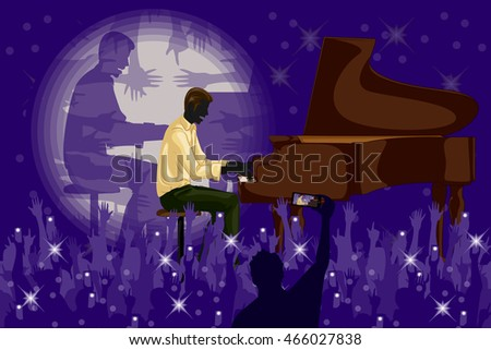 Man playing piano in Music band performance. Vector illustration