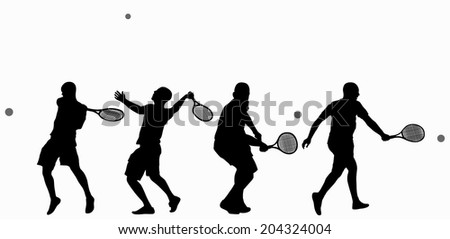 Man playing tennis - stock vector