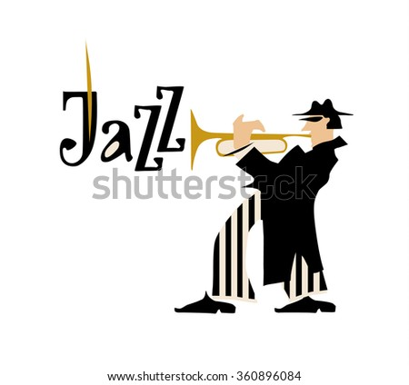 Man playing trumpet isolated on white background. Jazz inscription. Vector illustration.  - stock vector
