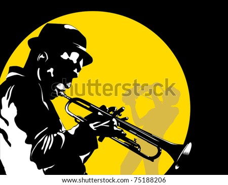 Man playing trumpet on the background of the moon; - stock vector