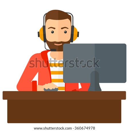 Man playing video game. - stock vector