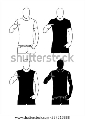 Man pointing at his chest silhouette, vector eps10 illustration