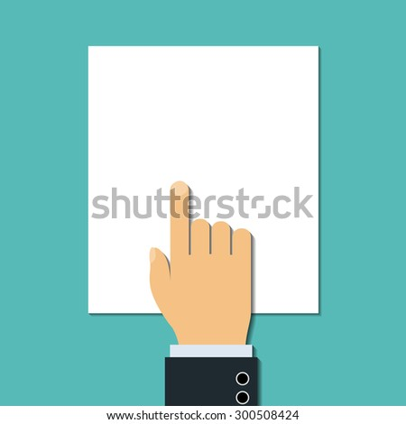 Man points a finger at blank document. Stock Vector. - stock vector