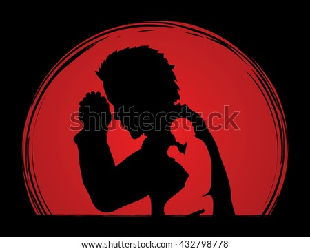 Man prayer designed on sunset background graphic vector. - stock vector