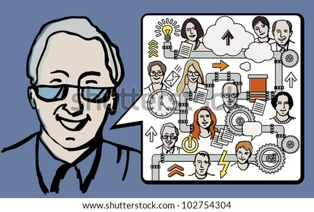 Man presentation business idea The senior man doing presentation of business concept. Color vector illustration with team and business mecanics.