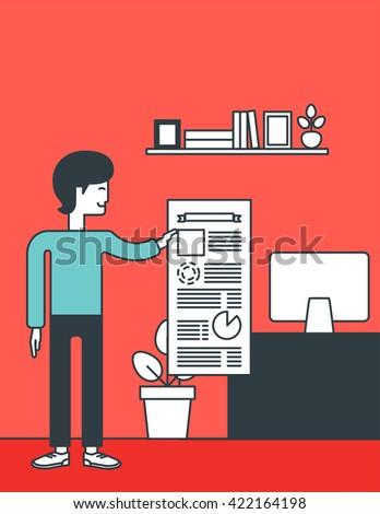 Man presenting business report. - stock vector