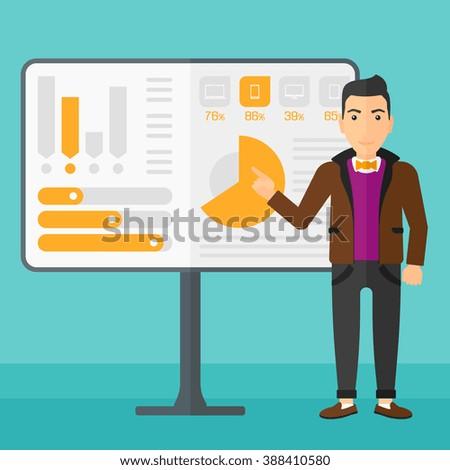 Man presenting report. - stock vector