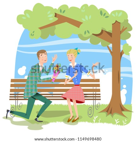 Man presenting woman with flowers on park bench (vector illustration)