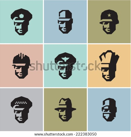 Man professions. Workers. Occupations icons. - stock vector