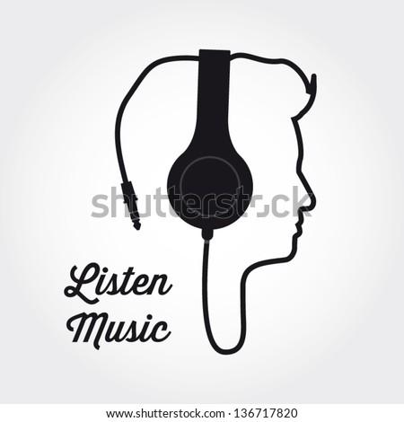 man profile silhouette with headphone music illustration ...