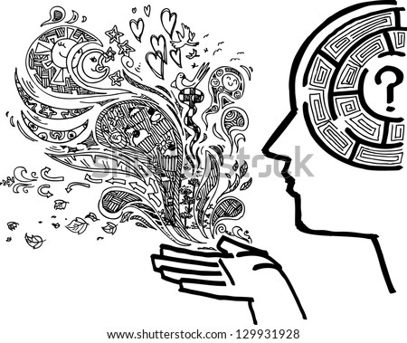 Man profile with maze in the brain sketchy doodle - stock vector