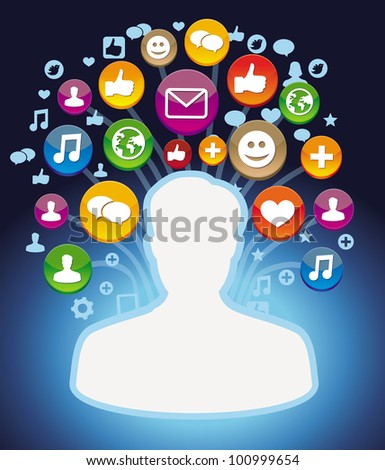 man profile with social media icons - vector illustration - stock vector