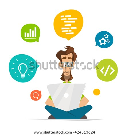 Man programmer freelancer student character and laptop notebook Flat web vector illustration for infographics