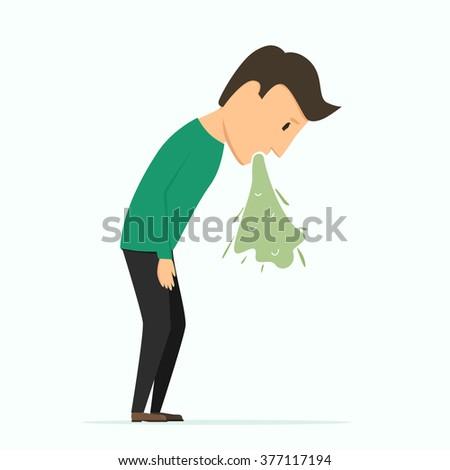 Man puke. Bad feeling. Poisoning - stock vector