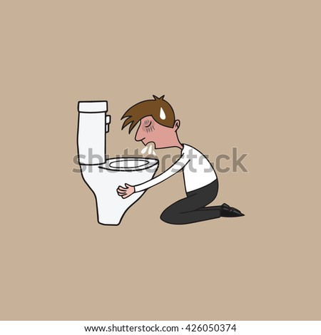 Man puking in toilet cartoon drawing - stock vector