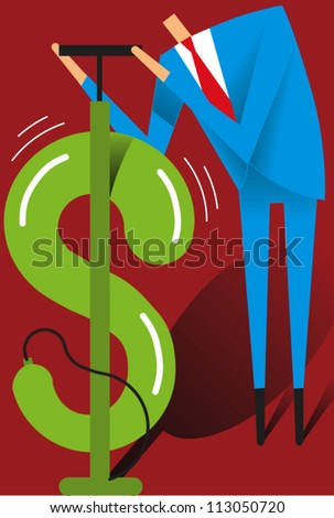 Man pumps up a balloon in the shape of a dollar sign - stock vector